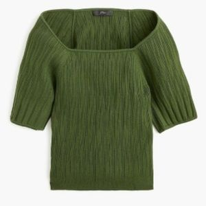 J. Crew square neck green sweater top shirt blouse